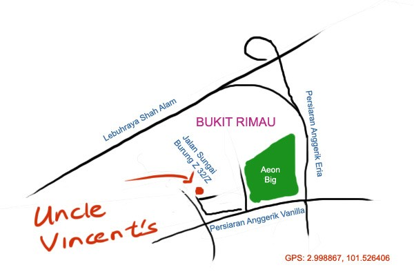 map to Uncle Vincent's at Bukit Rimau