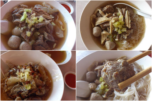 beef noodle, dry and soup, with laifun & meehun options