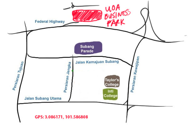 map to UOA business park, shah alam