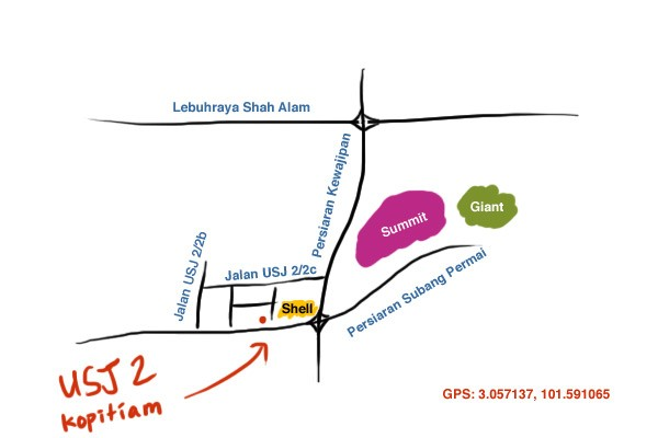 map to USJ 2 kopitiam