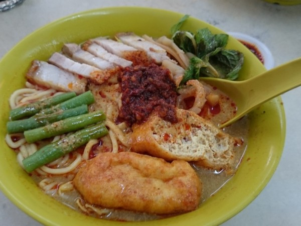 Nyonya Curry mee, with extra roast pork