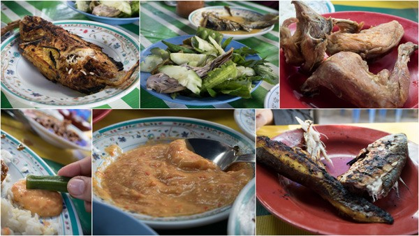 ikan bakar, ulam, ayam kampung, and those awesome tempoyak