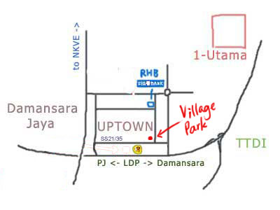 map to Village Park nasi lemak at Damansara Uptown, PJ