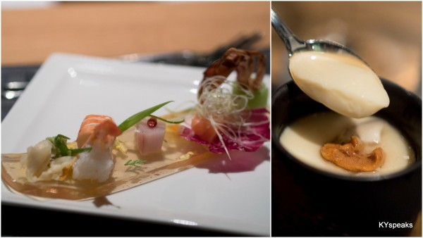 sushi, sashimi, & chawamushi with Hokkaido uni