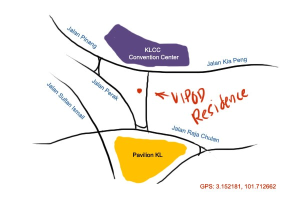 map to vipod residence, KL