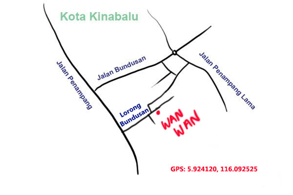 map to wan wan fish noodle, kota kinabalu