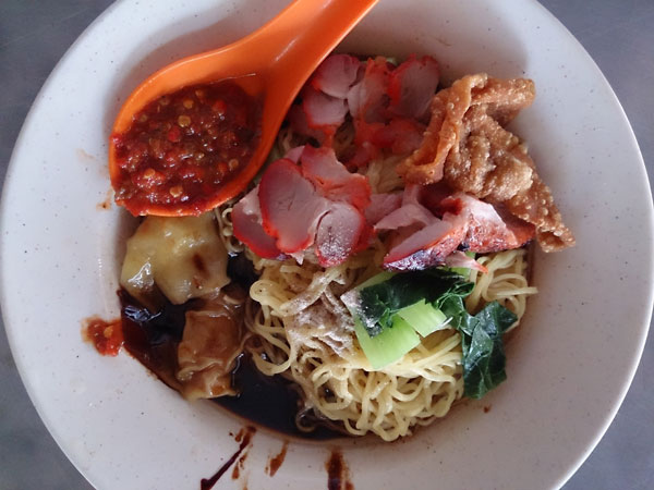 sambal goes very well with wantan mee