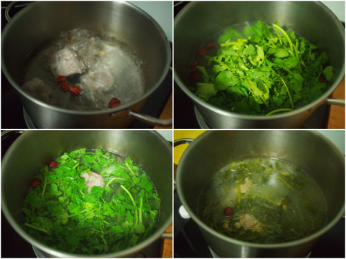 boil meat/chicken, then add watercress, done!