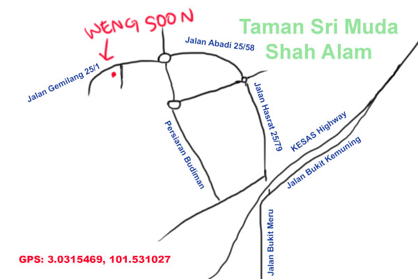 map to weng soon kopitiam