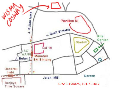 map to wisma cosway