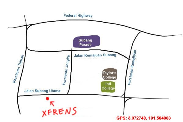 map to XFrens Subang Jaya ss18