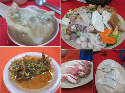 dumpling, steamboat set, condiment, pork slice