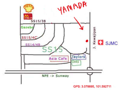 map to Yamada Japanese restaurant