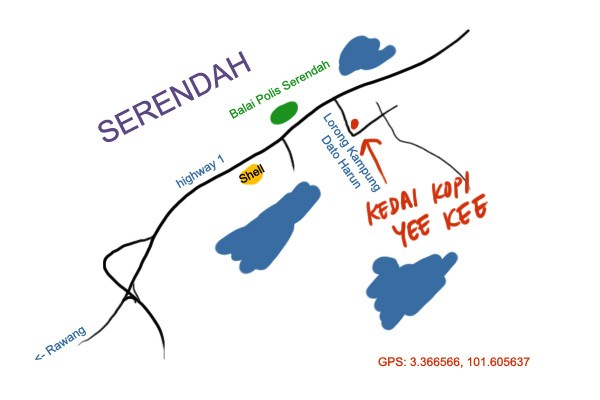 map to Serendah Yee Kee kopitiam