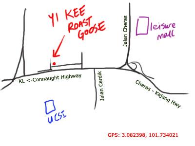 map to Yi Kee roast goose