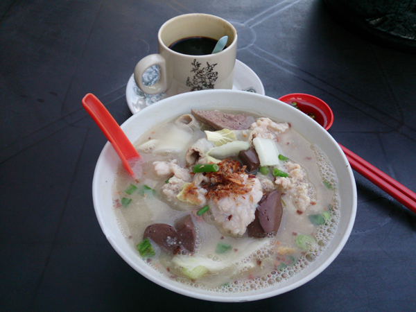 glorious bowl of pork noodle with everything in it