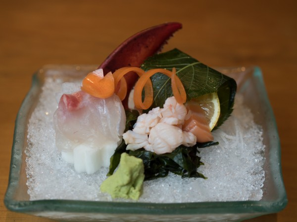 sashimi with salmon, lobster, and seabream