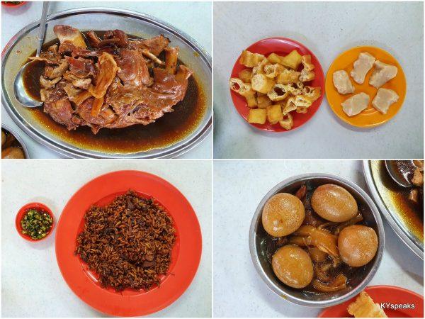 hong ba, yau char kuih & alkaline kuih, vege rice, stewed egg & chicken feet