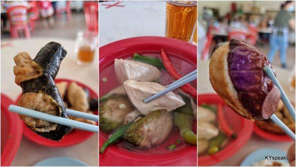 seaweed yong tau foo, tofu, brinjal yong tau foo