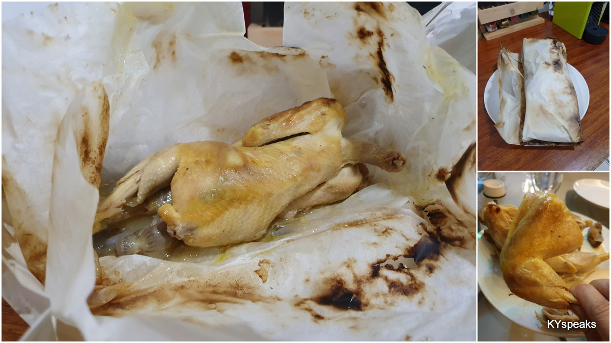 whole salt baked chicken, tender enough to tear off by hands