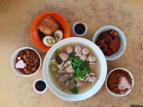yam rice, mix pork soup, tofu & egg, braised pork trotter