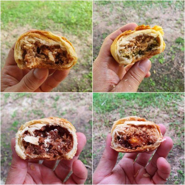 pork floss biscuit from top left - original, pandan, bakwa, salted egg yolk