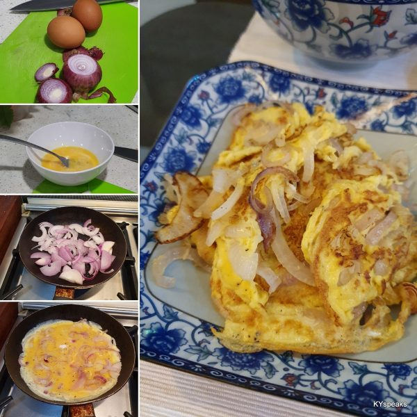 chinese style onion omelette