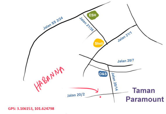 map to Habanna charbroiled grill, PJ