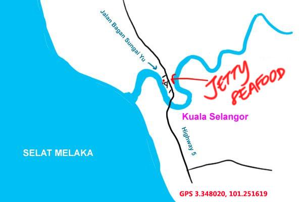 map to jetty seafood kuala selangor
