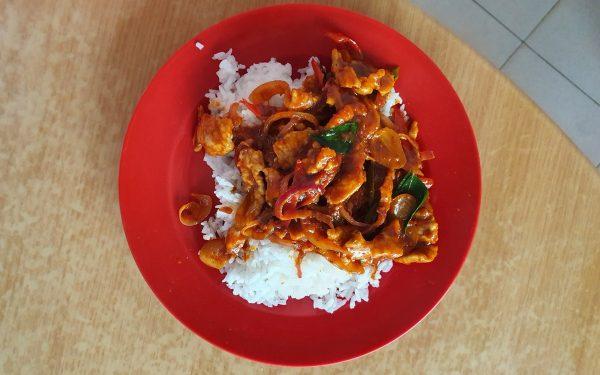 curry pork rice, single serving