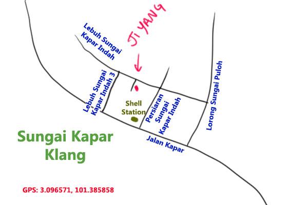 map to ji yang restaurant, sungai kapar