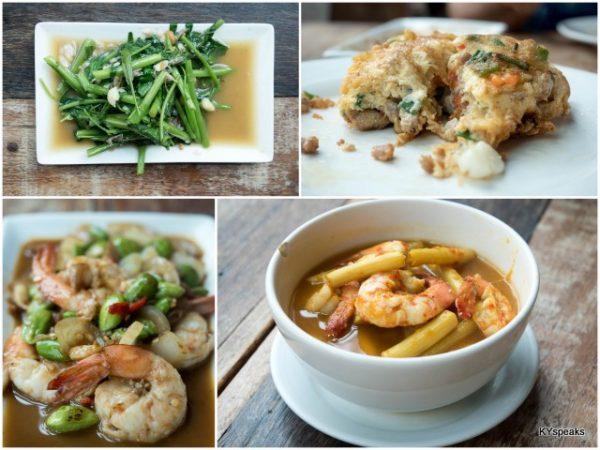 kangkung, stuffed omelet , petai prawn, bamboo shoot yellow curry