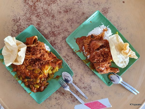 squid with extra petai, fried chicken nasi kandar