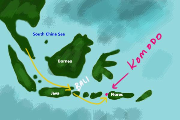 map of komodo islands