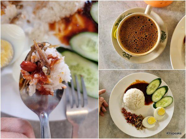 nasi lemak and coffee