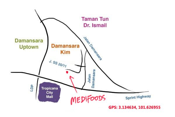 maps to MEDIFOODS Damansara Kim