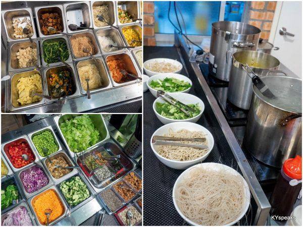 salad bar and noodle soup station