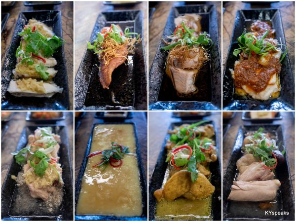 fish, steamed egg, and chicken dishes