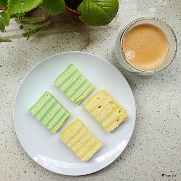 pandan layer cake, and with durian durian