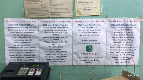 pandan layer cake price list