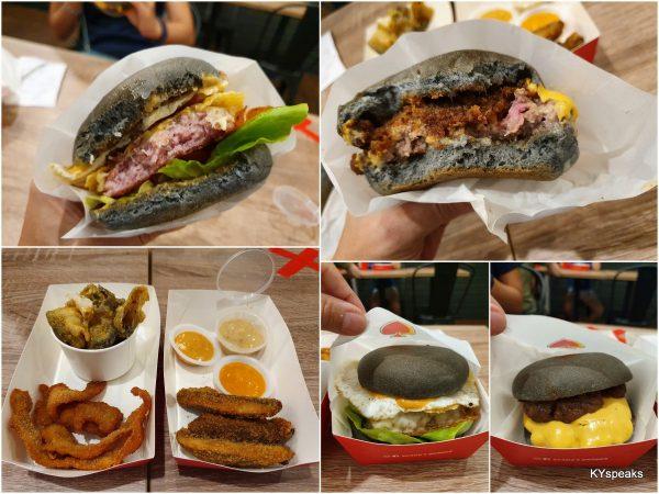 BBJ, Dark Knight, fish skin, mushroom, bacon fries