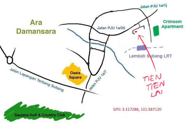 map to Tien Tien Lai, Ara Damansara