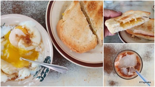 roti kahwin, telur setengah masak, and kopi ais