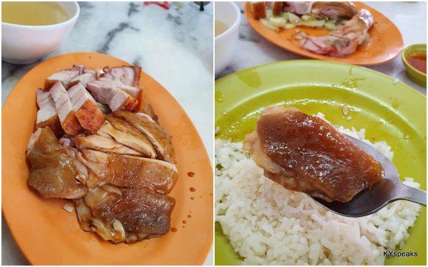 soy sauce chicken rice with roast pork, Fatt Kee